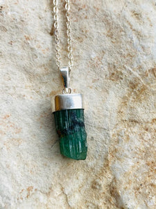Emerald Silver Necklace by Full Moon Designs. Christmas collection