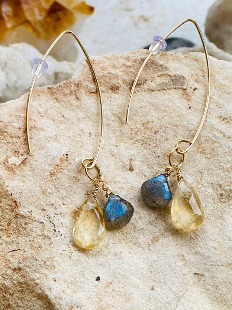 citrine and larbadorite earrings by Full Moon Designs. Christmas collection