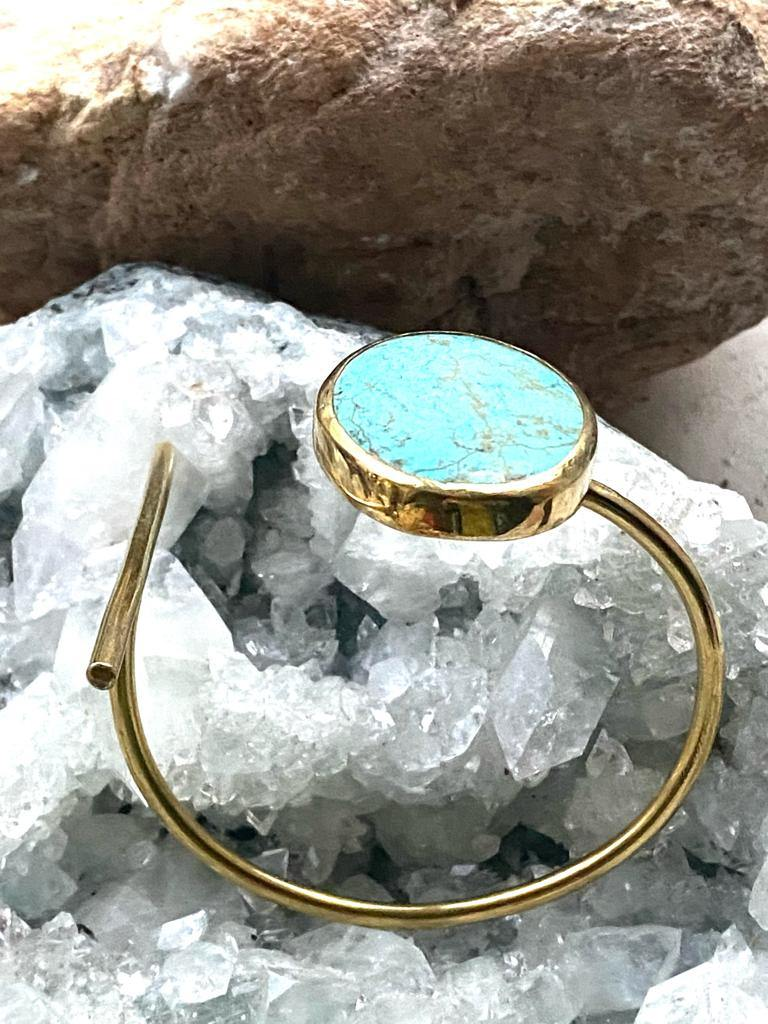 handmae turquoise embedded bracelet with brass by full moon designs jewellery