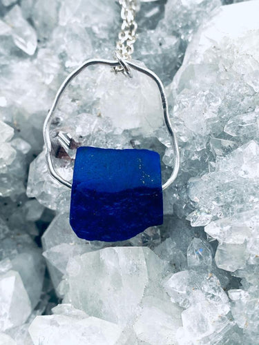 lapis lazuli sterling silver necklace. handmade by Full Moon Designs