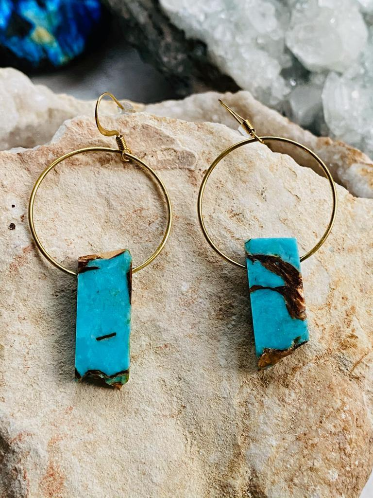 Turquoise Brass Earrings by full moon designs, close up