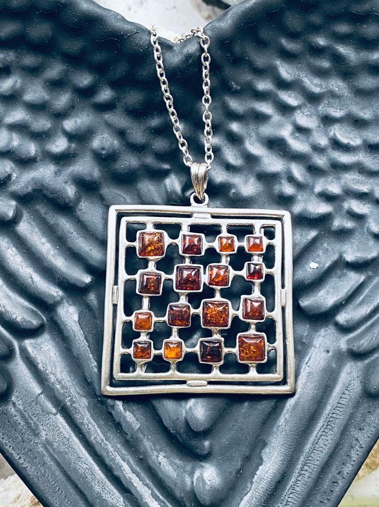 amber silver necklace square stones full moon designs