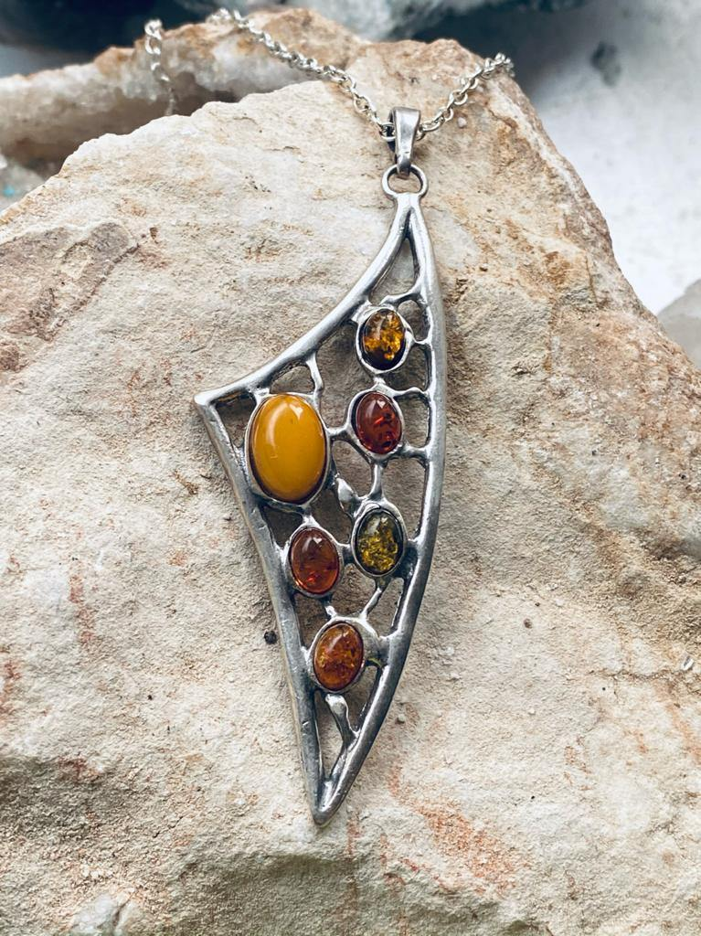 unusual one off necklace sterlign silver with square gemstones of amber