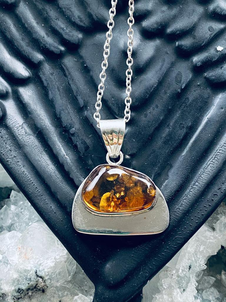 natural amber sterling silver necklace.
