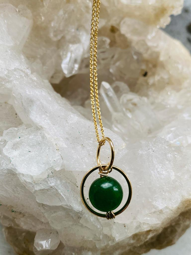 Jade goldfilled necklace by full moon designs