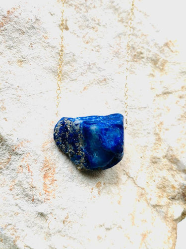 lapis lazuli gold filed necklace with  goldfilled chain by Full Moon Designs