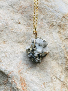 pyrite gold necklace by full moon designs