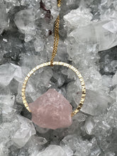 Load image into Gallery viewer, blush pink rose quartz asymmetric hanging necklace, natural