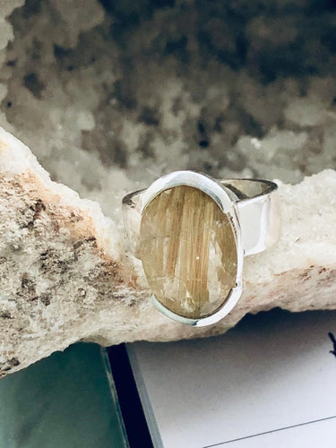 Quartz (Rutilated) Sterling Silver Ring - Full Moon Designs