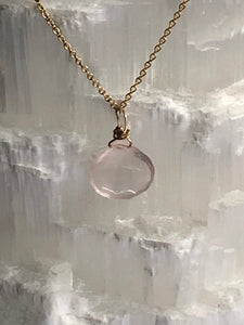 Rose Quartz Gold Filled Necklace - Full Moon Designs