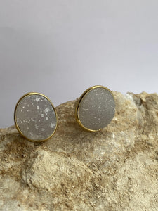 Drusy (White) Gold on Silver Studs - Full Moon Designs