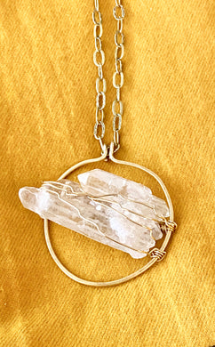 Quartz (Clear) Brass Pendant - Full Moon Designs