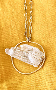 Quartz (Clear) Brass Necklace - Full Moon Designs