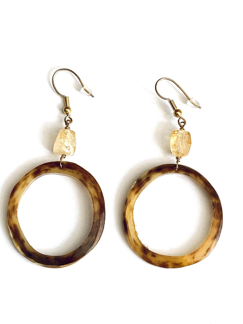 Brown Horn (recycled) and Citrine Gold Earrings - Full Moon Designs