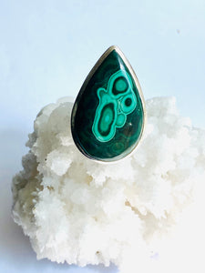 Malachite Sterling Silver Ring - Full Moon Designs