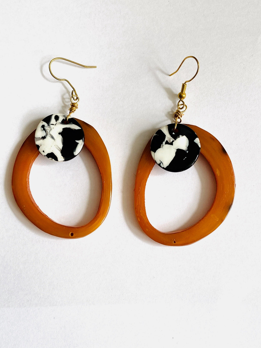 Horn (Recycled) Orange and Black and White Earrings - Full Moon Designs