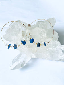 Tanzanite and Herkimer Diamond Gold Filled Earrings Hoops - Full Moon Designs