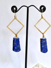 Load image into Gallery viewer, Lapis Lazuli Gold on Silver Earrings - Full Moon Designs