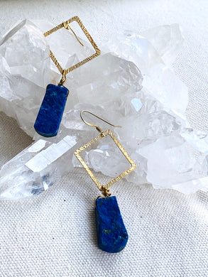 Lapis Lazuli Gold on Silver Earrings - Full Moon Designs