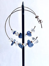 Load image into Gallery viewer, Tanzanite and Herkimer Diamond Gold Filled Earrings Hoops - Full Moon Designs