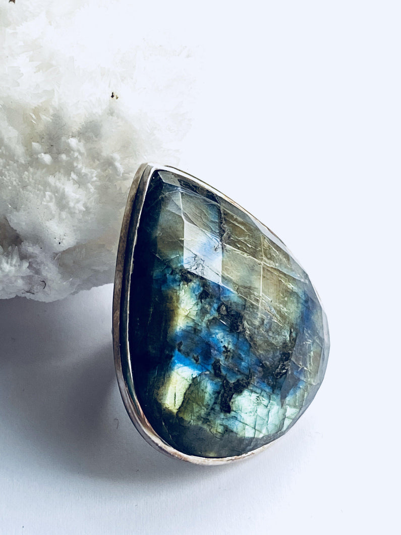 Labradorite Sterling Silver Ring - Full Moon Designs