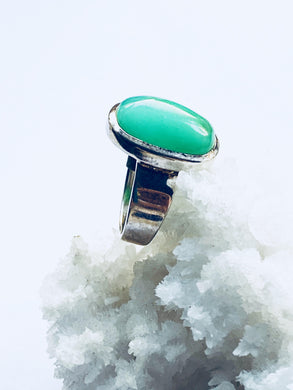 Chrysoprase Sterling Silver Ring - Full Moon Designs