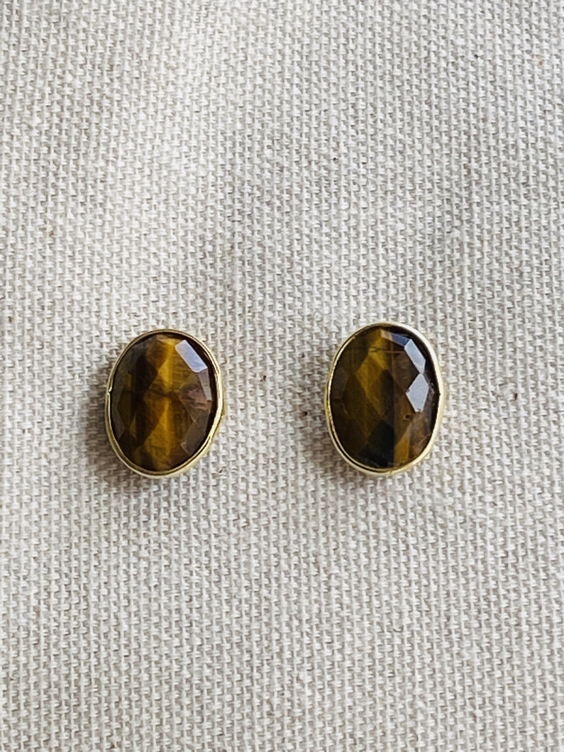 Tiger´s Eye Gold on Silver Studs - Full Moon Designs