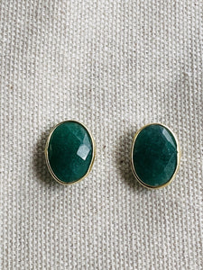 Onyx (Green) Gold on Silver Studs - Full Moon Designs