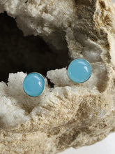 Load image into Gallery viewer, Chalcedony (Blue) Sterling Silver Studs - Full Moon Designs