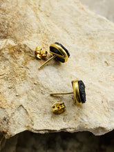 Load image into Gallery viewer, Drusy (Black) Gold on Silver Studs - Full Moon Designs