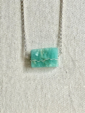 Amazonite (green) Sterling Silver Necklace - Full Moon Designs
