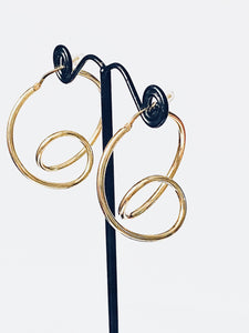 Earrings Hoops Gold on Silver - Full Moon Designs