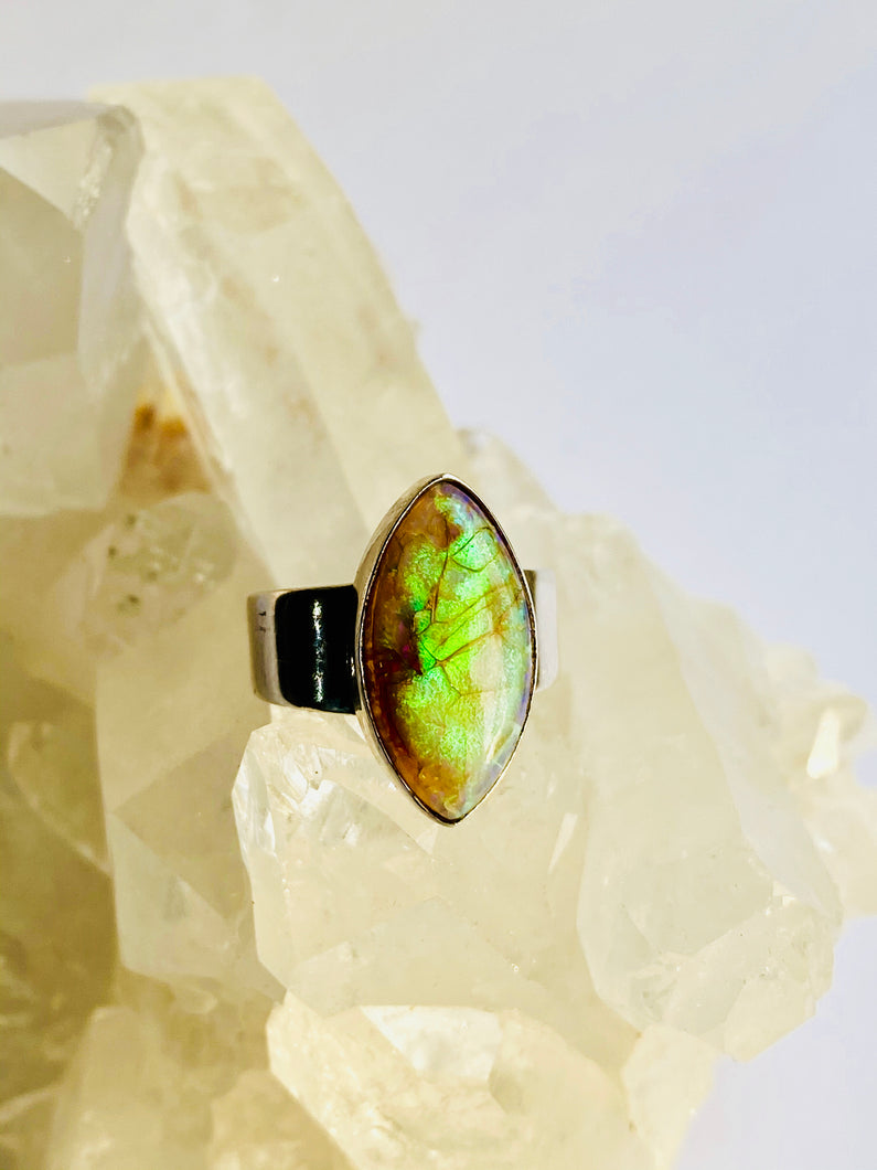 Opal Sterling Silver Ring - Full Moon Designs