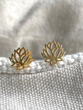Load image into Gallery viewer, Lotus flower Gold on Silver Studs - Full Moon Designs