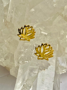 Lotus flower Gold on Silver Studs - Full Moon Designs