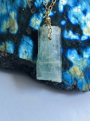 Aquamarine (Green) Goldfilled Necklace