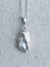 Load image into Gallery viewer, Mother of Pearl SIlver Necklace FUll Moon Designs