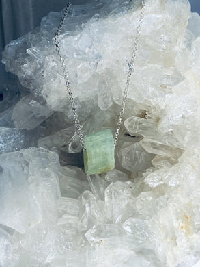 Aquamarine (green) Sterling Silver Necklace