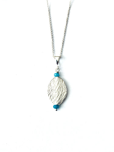 SIlver Necklace with Blue Agate Full Moon Designs