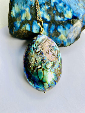 Abalone Shell Pendant Necklace - Full Moon Designs