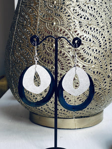 dangly statement earrings, handmade jewellery, white and silver