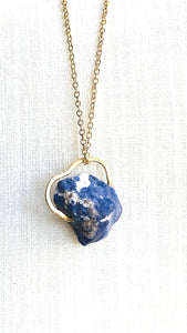 sodalite gold necklace by full moon designs blue gemstone pendant