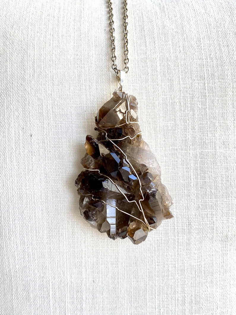 Quartz (Smokey Quartz) Sterling Silver Pendant - Full Moon Designs