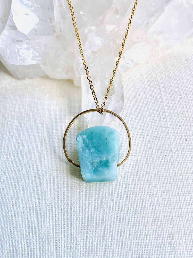 Amazonite Goldfilled Pendant - Full Moon Designs