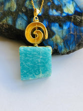 Load image into Gallery viewer, Amazonite Gold on Silver Pendant - Full Moon Designs