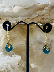 Apatite Gold on Silver Earrings - Full Moon Designs