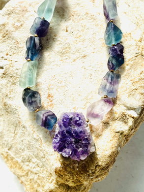 Amethyst and Fluorite Necklace - Full Moon Designs