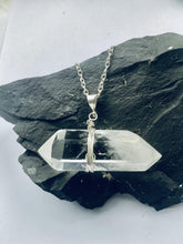 Load image into Gallery viewer, Quartz (clear) double point Sterling Silver Pendant - Full Moon Designs