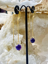 Load image into Gallery viewer, Amethyst Gold on Silver Earrings - Full Moon Designs