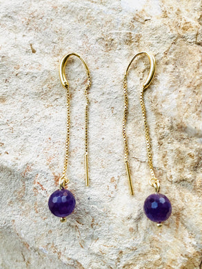 Amethyst Gold on Silver Earrings - Full Moon Designs